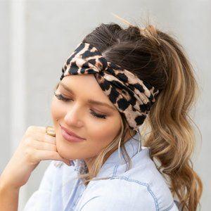 Brown Leopard Twist Headband